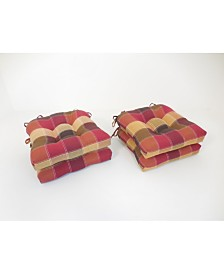 Harris Plaid Set of Four Chair Pad Seat Cushions