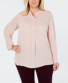 Charter Club Plus Size Banded-Collar Top, Created for Macy's