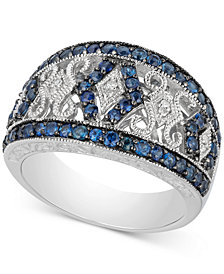 Sapphire (1-1/10 ct. t.w.) & Diamond Accent Filigree Band in Sterling Silver