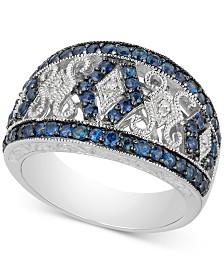 Sapphire (1-1/10 ct. t.w.) & Diamond Accent Filigree Band in Sterling Silver