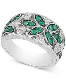 Emerald (7/8 ct. t.w.) & Diamond Accent Filigree Band in Sterling Silver (Also available in Sapphire and Ruby)