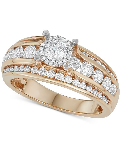 Macy's Diamond Channel-Set Three Row Engagement Ring (1-1/2 ct. t.w.) in 14k Gold