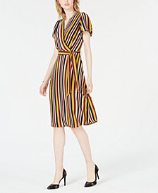 Bar III Striped Wrap Dress, Created for Macy's