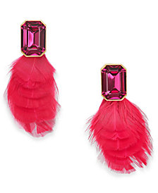kate spade new york Gold-Tone Crystal & Feather Stud Earrings