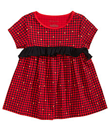 First Impressions Baby Girls Glitter-Print Plaid Cotton Tunic, Created for Macy's