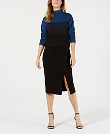 Mock-Neck Jacquard Sweater & Midi Skirt
