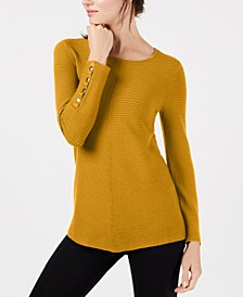 Ribbed Snap-Detail Sweater, Created for Macy's