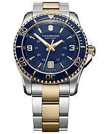 Men's Swiss Maverick Two-Tone Stainless Steel Bracelet Watch 43mm