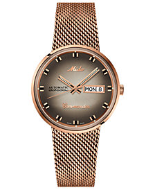 LIMITED EDITION Mido Men's Swiss Automatic Commander Classic Rose Gold-Tone PVD Stainless Steel Bracelet Watch 37mm - A Special Edition