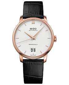 Mido Men's Swiss Automatic Baroncelli III Black Leather Strap Watch 40mm