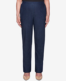 Alfred Dunner News Flash Pull-On Flat-Front Denim Pants