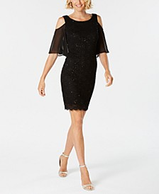Lace Cold-Shoulder Sheath Dress