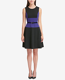 Tommy Hilfiger Belted Colorblocked A-Line Dress