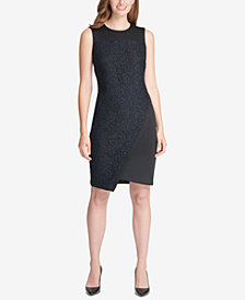 Tommy Hilfiger Asymmetrical Scuba Sheath Dress