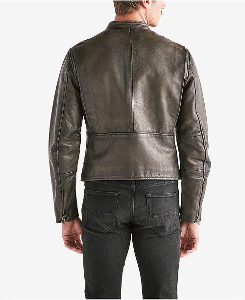 907b4fb0d07 Lucky Brand Men s Leather Bonneville Jacket   Reviews - Coats ...