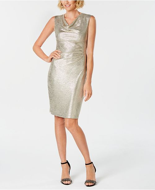 Connected Metallic Cowl-Neck Dress