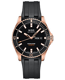 Mido Men's Swiss Automatic Ocean Star Captain V Black Rubber Strap Watch 42.5mm