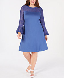Love Squared Trendy Plus Size Lace-Yoke A-Line Dress