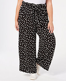 Monteau Trendy Plus Size Printed Wide-Leg Pants