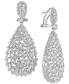 Cubic Zirconia Openwork Teardrop Drop Earrings in Sterling Silver