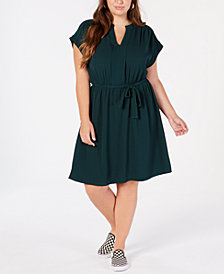 Monteau Trendy Plus Size Tie-Waist A-Line Dress