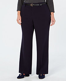 Charter Club Plus Size Tummy Control Trouser Pants, Created for Macy's