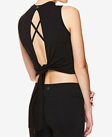Gaiam by Jessica Biel Mock-Neck Tie-Back Cropped Top