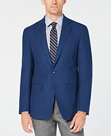 Calvin Klein Men's X Fit Slim-Fit Blue Mix Wool Sport Coat