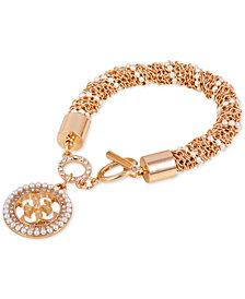 GUESS Pavé & Imitation Pearl Logo Charm Bracelet