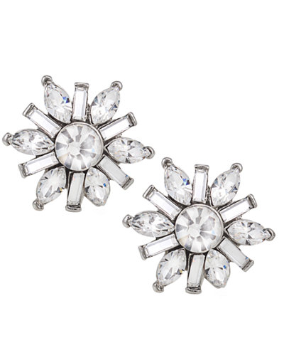 Carolee Earrings, Silver-Tone Small Button Snowflake Earrings