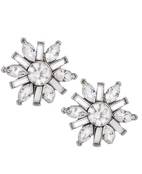Carolee Earrings, Silver-Tone Small Button Snowflake Earrings