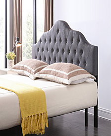 Full-Size Upholstered Tufted Rounded Headboard in Grey