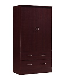 2-Door Armoire with 2-Drawers and Clothing Rod
