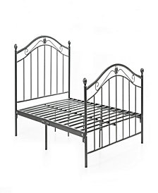 Complete Metal Queen-Size Bed with Headboard, Footboard, Slats and Rails in Black-Silver
