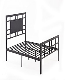 Complete Metal Full-Size Bed with Headboard, Footboard, Slats and Rails in Black