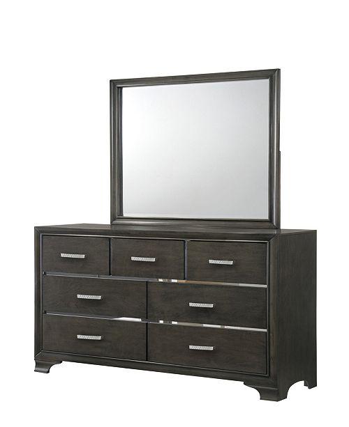 Hodedah Paxton Mirror Only in Light Grey Finish