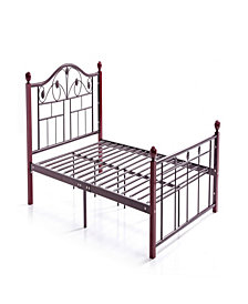 Complete Bronze Metal Bed with Headboard, Footboard, Slats and Rails in Full Size