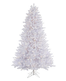 7.5' Crystal White Pine Artificial Christmas Tree with 650 Warm White LED Lights