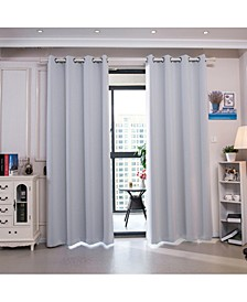 """96"""" Corinth Premium Solid Insulated Thermal Blackout Grommet Window Panels, Cloud Grey"""