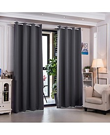 """63"""" Sparta Premium Solid Insulated Thermal Blackout Grommet Window Panels, Dove Grey"""