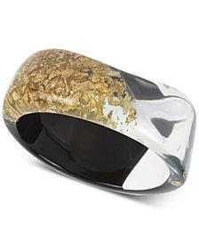 Robert Lee Morris Soho Black & Gold Clear Resin Bangle Bracelet