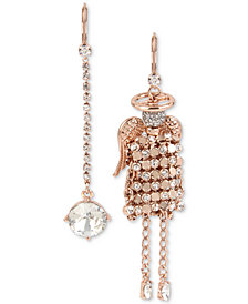 Betsey Johnson Rose Gold-Tone Crystal Mesh Angel Mismatch Drop Earrings