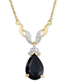 "Sapphire (3 ct. t.w.) & Diamond Accent 18"" Pendant Necklace in 18k Gold-Plated Sterling Silver"