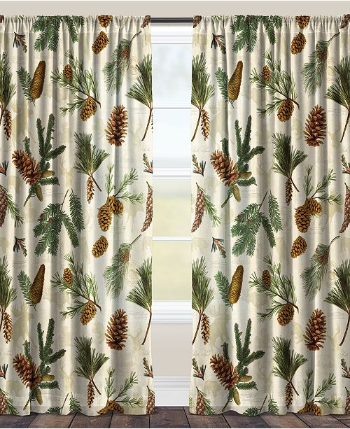 """Laural Home Pinecone 84"""" Black Out Window Curtain"""