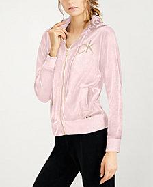 Calvin Klein Embellished Logo Velour Jacket
