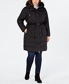 MICHAEL Michael Kors Plus Size Faux-Fur-Trim Hooded Belted Down Coat