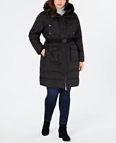 0c8d01f68 MICHAEL Michael Kors Plus Size Faux-Fur-Trim Hooded Belted Down Coat