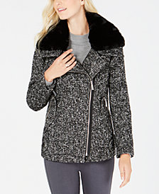 MICHAEL Michael Kors Faux-Fur-Collar Herringbone Coat