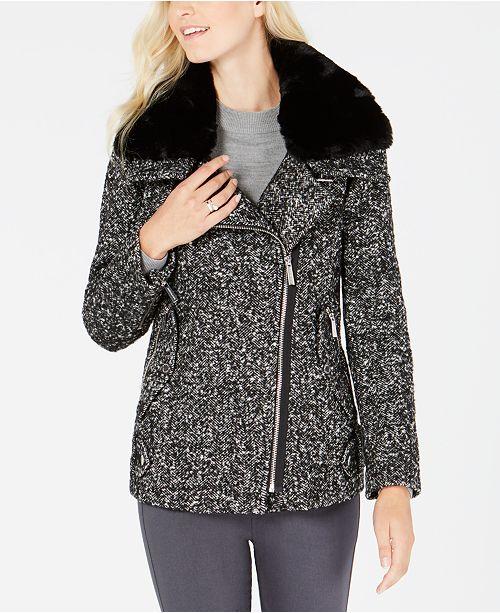 c031b8990f6 Michael Kors Faux-Fur-Collar Herringbone Coat   Reviews - Coats ...