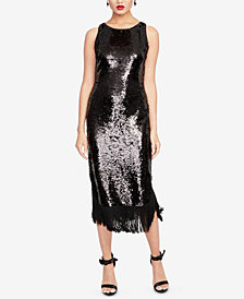 RACHEL Rachel Roy Sequined Fringe-Trim Dress